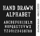 hand drawn alphabet font.... | Shutterstock .eps vector #486113203