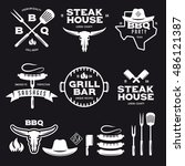 set of barbecue steak house... | Shutterstock .eps vector #486121387