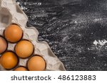 close up to carton egg box with ... | Shutterstock . vector #486123883
