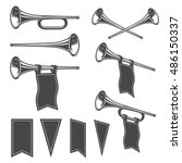 set of monochrome fanfares with ... | Shutterstock .eps vector #486150337