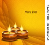 abstract religious happy diwali ... | Shutterstock .eps vector #486170953