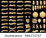 banner gold vector icon set on... | Shutterstock .eps vector #486173767
