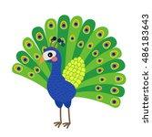 peacock animal cartoon... | Shutterstock .eps vector #486183643