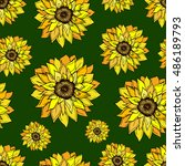 Постер, плакат: Sunflower pattern Sunflower icon Doodle