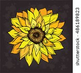sunflower doodle vector... | Shutterstock .eps vector #486189823