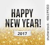gold sparkles white background  ... | Shutterstock .eps vector #486199303
