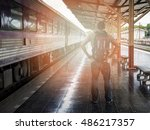 traveler with backpack in train ... | Shutterstock . vector #486217357