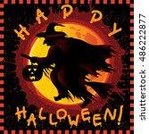 happy halloween card. vector... | Shutterstock .eps vector #486222877