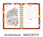 flat design opened notepad with ...   Shutterstock .eps vector #486228373