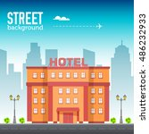 hotel building in city space... | Shutterstock .eps vector #486232933