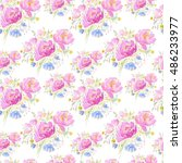 watercolor seamless pattern... | Shutterstock . vector #486233977