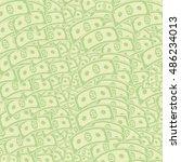 vector set of paper dollars... | Shutterstock .eps vector #486234013