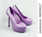 Female Purple Shoes Over White