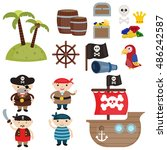 set of cute pirate an pirate... | Shutterstock .eps vector #486242587