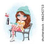 cute girl vector   Shutterstock .eps vector #486242713