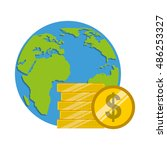 global planet with economy icon ... | Shutterstock .eps vector #486253327