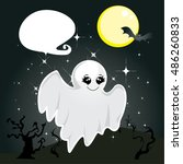 cute ghost cartoon character... | Shutterstock .eps vector #486260833