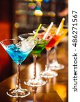 multicolored cocktails at the... | Shutterstock . vector #486271567