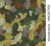 woodland camouflage with autumn ... | Shutterstock .eps vector #486287503