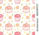 seamless pattern with hand... | Shutterstock .eps vector #486289927