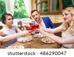 friends drinking wine on the... | Shutterstock . vector #486290047
