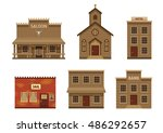 Wild West Houses Set With...