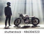 sexy biker man wearing jeans... | Shutterstock . vector #486306523