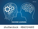 machine learning and artificial ... | Shutterstock .eps vector #486314683