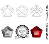 set of pentagon cut jewel views ... | Shutterstock .eps vector #486315487