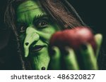 Green Witch Holding An Apple I...