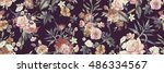 Stock photo seamless floral pattern with flowers watercolor 486334567