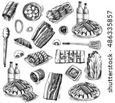 bbq. hand drawn doodle set.... | Shutterstock .eps vector #486335857