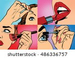 Set of makeup and cosmetic beauty woman, pop art retro vector illustration. Lips, eyes, eyebrows and skin | Shutterstock vector #486336757