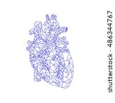 human heart. polygonal graphics.... | Shutterstock .eps vector #486344767