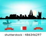 bahrain cityscape during the... | Shutterstock .eps vector #486346297