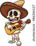 mexican musician skeleton with... | Shutterstock .eps vector #486366127