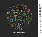 autumn icons in circle. pumpkin ... | Shutterstock .eps vector #486373423
