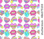 seamless vector pattern with... | Shutterstock .eps vector #486375103