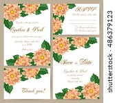set of wedding cards with... | Shutterstock .eps vector #486379123