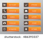 orange web buttons  high... | Shutterstock .eps vector #486393337