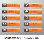 orange web buttons  high... | Shutterstock .eps vector #486393403