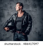 Portrait Of Middle Age Biker I...