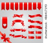 Red Ribbon vector icon set. Collection of red ribbons isolated on white background. | Shutterstock vector #486417193