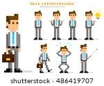 pixel illustration  businessman ...