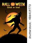 howling werewolf with halloween ...   Shutterstock .eps vector #486419773