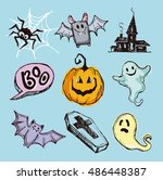 halloween hand drawn characters ... | Shutterstock .eps vector #486448387