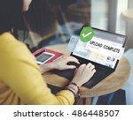 upload complete data uploading... | Shutterstock . vector #486448507