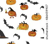 halloween vector  seamless... | Shutterstock .eps vector #486459907