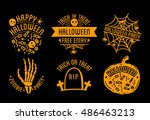 set of halloween stylish logos... | Shutterstock .eps vector #486463213