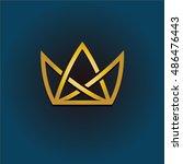 golden crown linear logo.... | Shutterstock .eps vector #486476443